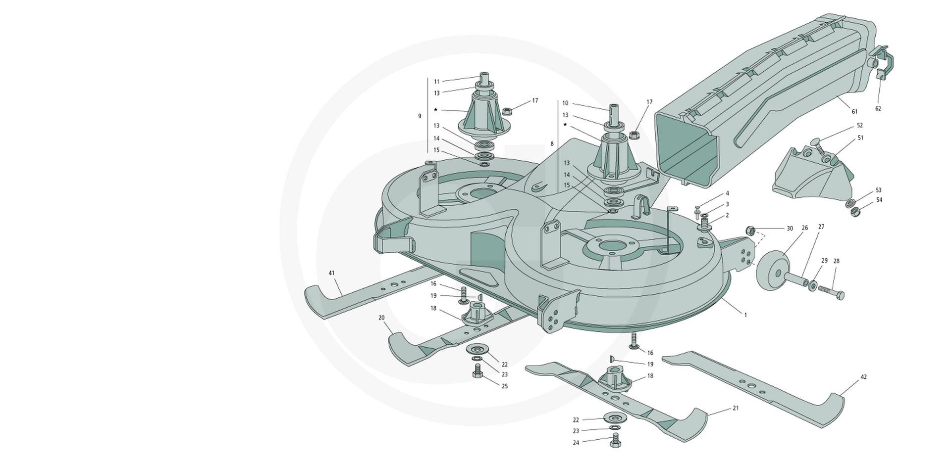 ersatzteil mulchmesser f r gartenland rasentraktor xt 165. Black Bedroom Furniture Sets. Home Design Ideas