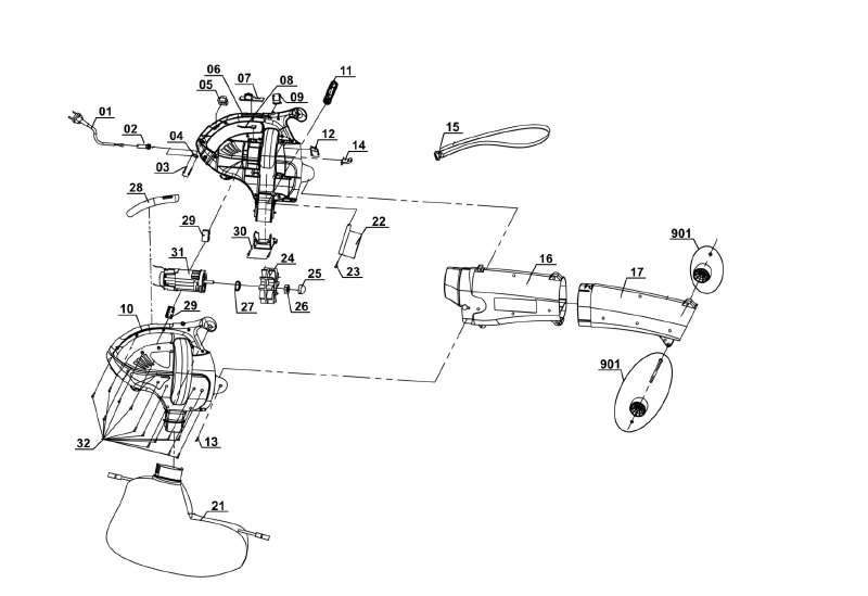 Ersatzteil Fangsack für Elektro-Laubsauger Hurricane HLS 215 ...