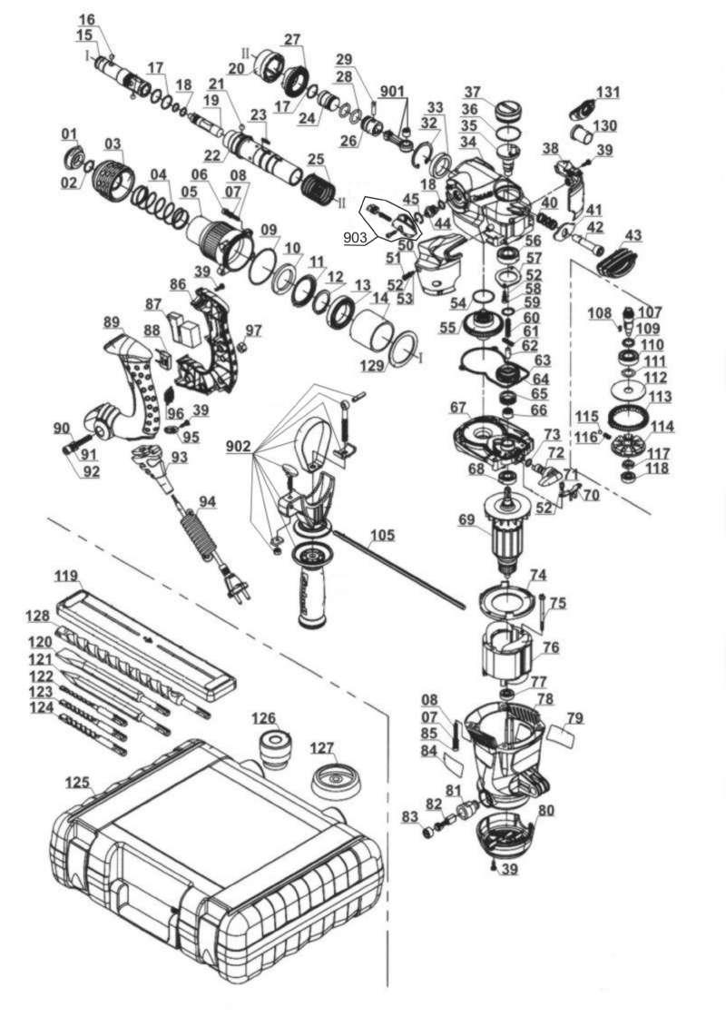 ersatzteile von einhell expert aus der zeichnung bohrhammer rt rh 32. Black Bedroom Furniture Sets. Home Design Ideas