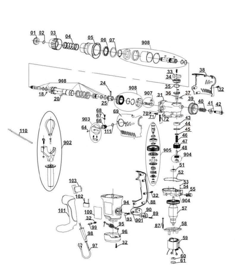 ersatzteil kugellager f r bohrhammer king craft kcbh 1500 aus dieser zeichnung 6 95. Black Bedroom Furniture Sets. Home Design Ideas