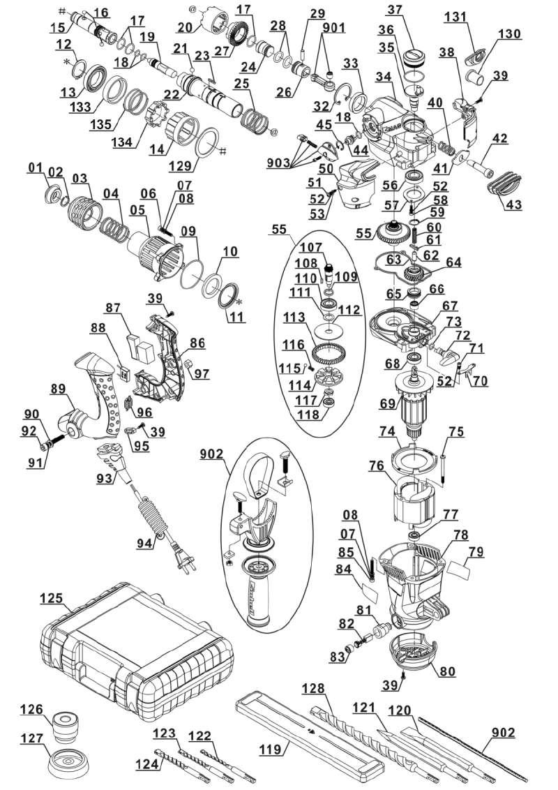 ersatzteil kohleb rste paar f r bohrhammer lux tools bh 32 aus dieser zeichnung 18 95. Black Bedroom Furniture Sets. Home Design Ideas