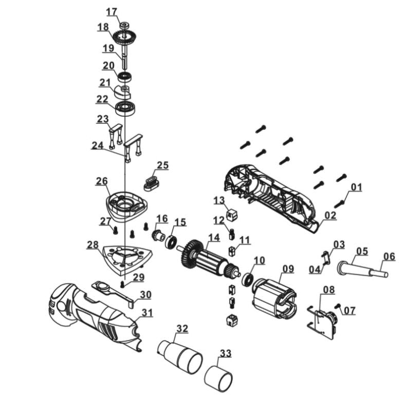 Ersatzteile von Duro aus der Zeichnung Deltaschleifer D-DS 280 mit G